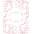 greeting card with pink flowers vector image