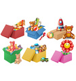 Six boxes of toys vector image