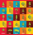 tree icons set flat style vector image