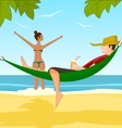 Young man and his girlfriend relaxing on a beach vector image