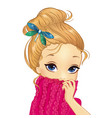 portrait girl with dragonfly brooch vector image