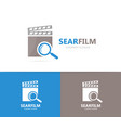 clapperboard and loupe logo combination vector image