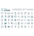 Set Flat Line Icons Internet of Things vector image vector image