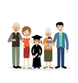 Big family with the child graduate vector image