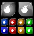 bomb icon sign Set of ten colorful buttons with vector image