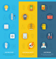 electricity safety and electrician icon set vector image