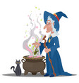 old witch with a cat cooks a decoction in the vector image