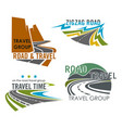 road travel or highway construction icons vector image vector image