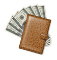 brown leather wallet with dollars on white vector image vector image
