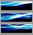 Energy speed swoosh blue wave header set vector image vector image