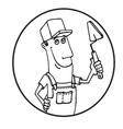 Cartoon Worker with tool circle logo vector image
