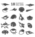Collection of shell icons vector image
