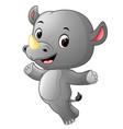 cute happy rhino jumping vector image