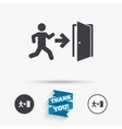 Emergency exit sign icon Door with right arrow vector image