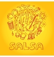 Salsa music and dance with musical vector image