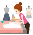 woman making clothes pattern vector image