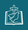 bible cross and dove vector image