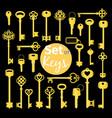 antique and modern gold keys set vector image