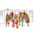 Street musicians doodles ink orchestra band vector image