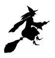 Witch on a broomstick Black silhouette vector image