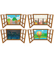 Four scenes from the window vector image