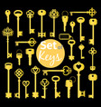 antique and modern gold keys set vector image