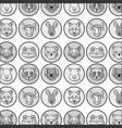 grayscale cute heads wilds animals background vector image