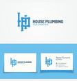 plumbing service logo set with pipelines vector image