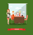 waitress taking order in flat vector image