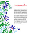 watercolor frame with cute flowers floral vector image
