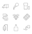 Treatment of patients icons set outline style vector image