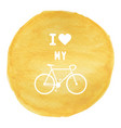 love bicycle on yellow watercolor background1 vector image