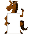 horse cartoon with blank sign vector image vector image