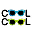 Text cool with vintage glasses as letter O vector image