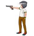 Man athlete shooting shotgun vector image