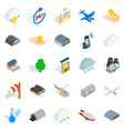 Airliner flight icons set isometric style vector image