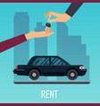 car seller hand giving key to buyer selling vector image