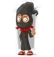 Cartoon funny executioner in black mask vector image
