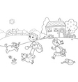 children playing with dogs vector image