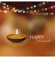 Diwali greeting card invitation with diya oil lamp vector image