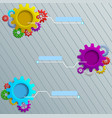 infographics with colorful gears on the grey woode vector image