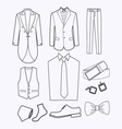 set of Fashion collection of man wardrobe vector image