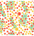 sliced citrus and leaves lemon and orange vector image