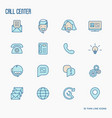 support service thin line icons set vector image