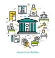 supreme court building - round concept vector image