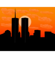 twin towers at sundown vector image