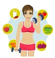 woman with dumbbells and variety of healthy fruits vector image