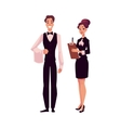 Young restaurant cafe manager and waiter in vector image