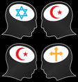 brains of religious fanatics vector image vector image