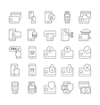 Pay on line and mobile banking outline icons vector image vector image
